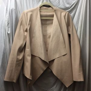 Nude Pink Faux Leather Blazer